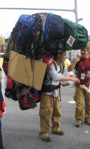 overpacked hiking pack
