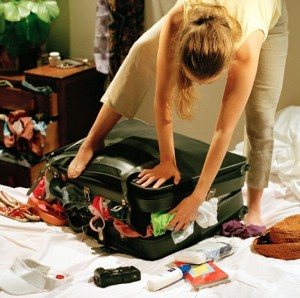 woman overpacking